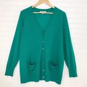 Sejour Nordstrom Green Cardigan Sweater Plus 1X